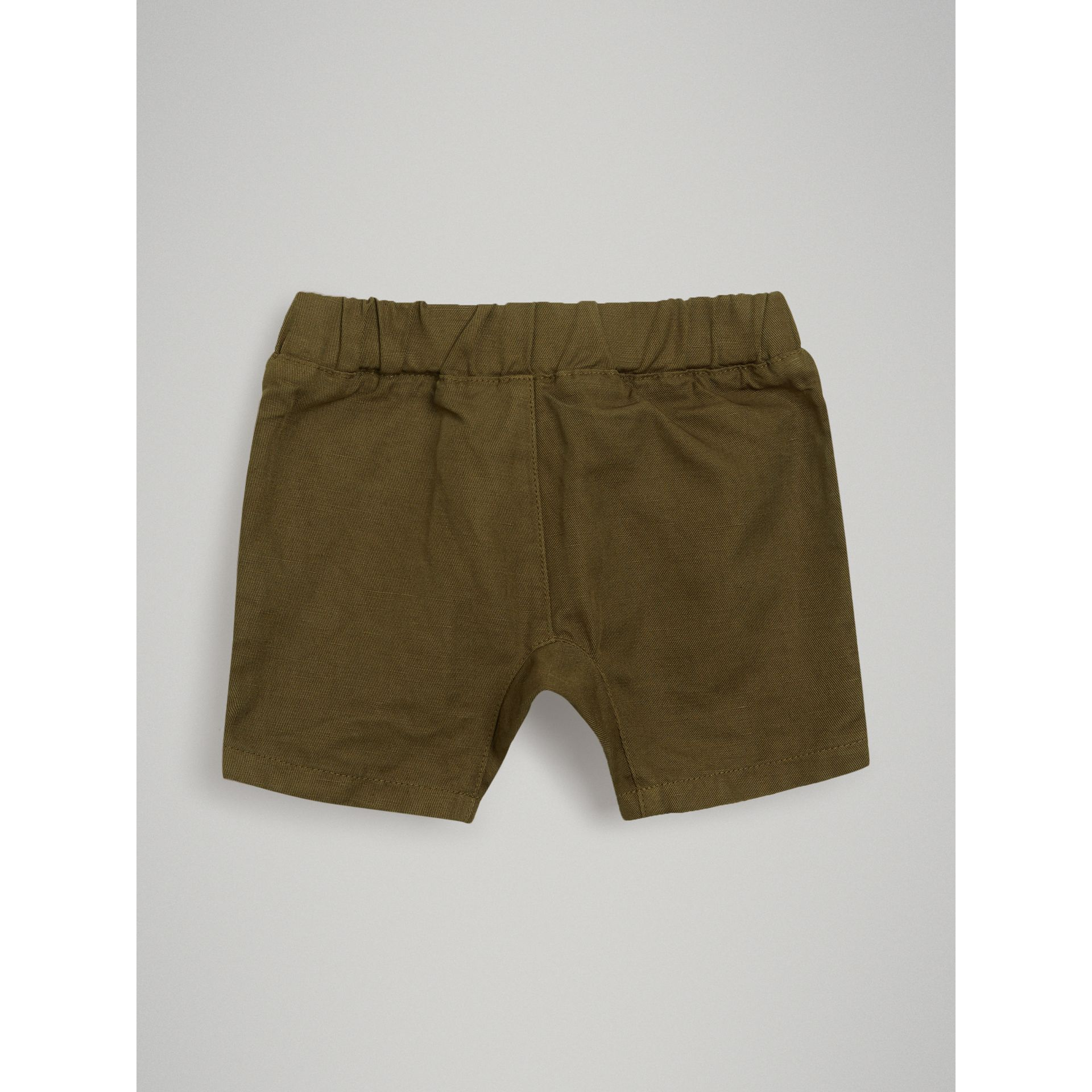 Drawcord Cotton Linen Twill Shorts in Olive | Burberry - gallery image 3