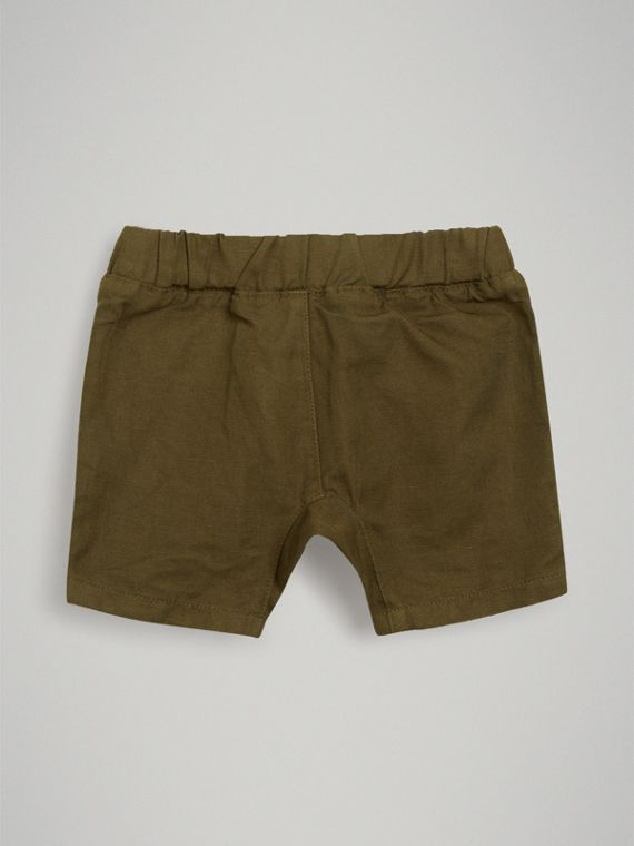 Drawcord Cotton Linen Twill Shorts in Olive | Burberry Singapore - cell image 3