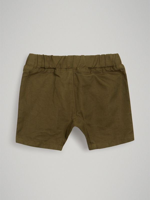 Drawcord Cotton Linen Twill Shorts in Olive - Children | Burberry - cell image 3