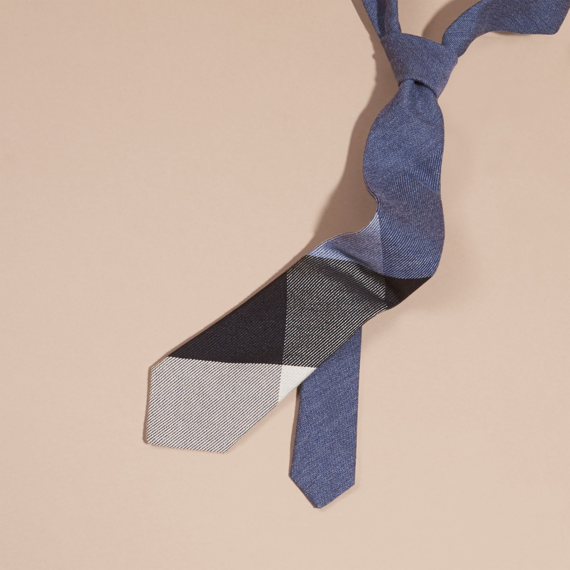 Modern Cut Check Cashmere Silk Tie in Airforce Blue - gallery image 1