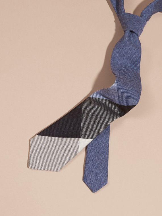 Modern Cut Check Cashmere Silk Tie Airforce Blue