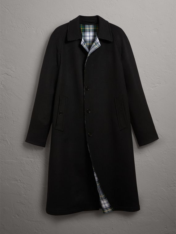 Reversible Cashmere and Tartan Wool Car Coat in Black - Men | Burberry - cell image 3