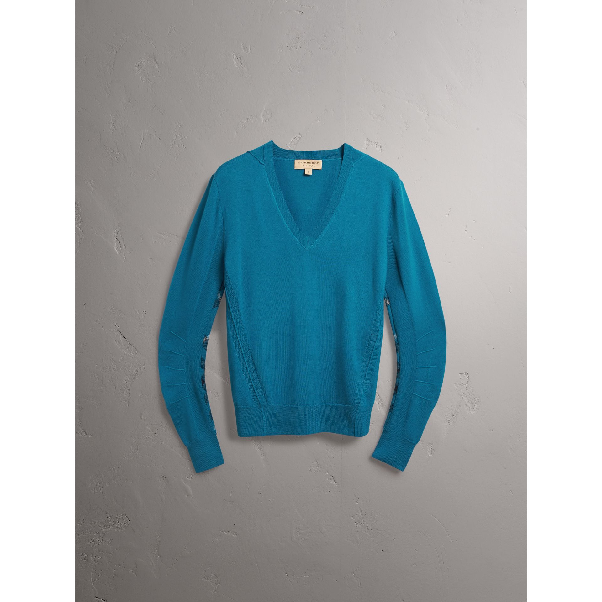 Check Detail Merino Wool V-neck Sweater in Mineral Blue - Men | Burberry - gallery image 3