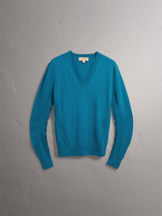 Check Detail Merino Wool V-neck Sweater in Mineral Blue - Men | Burberry - cell image 3