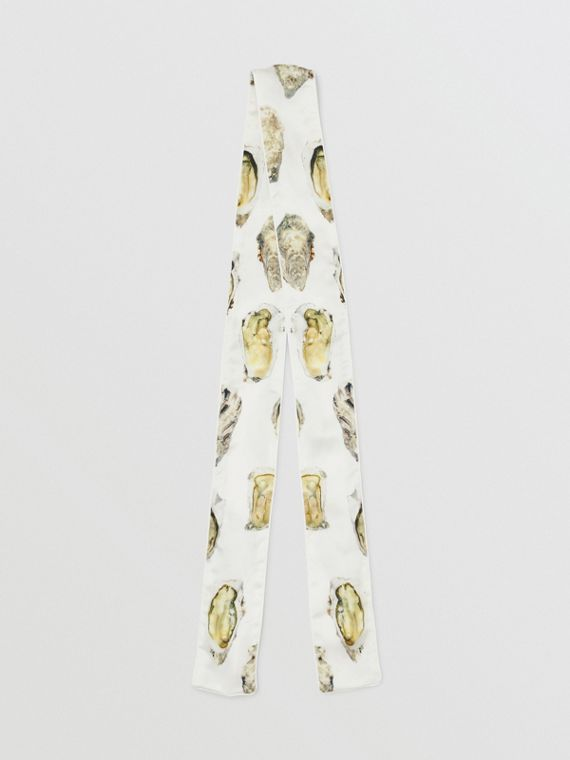 Oyster Print Silk Satin Skinny Scarf in Natural White