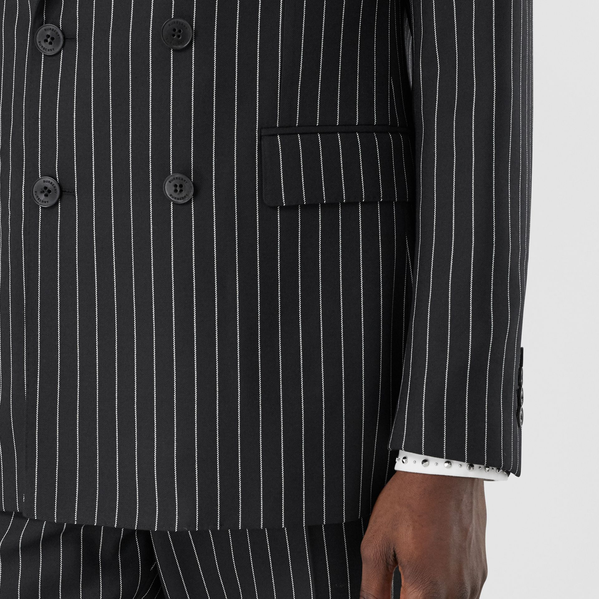 English Fit Pinstriped Wool Suit in Black - Men | Burberry United Kingdom - gallery image 4