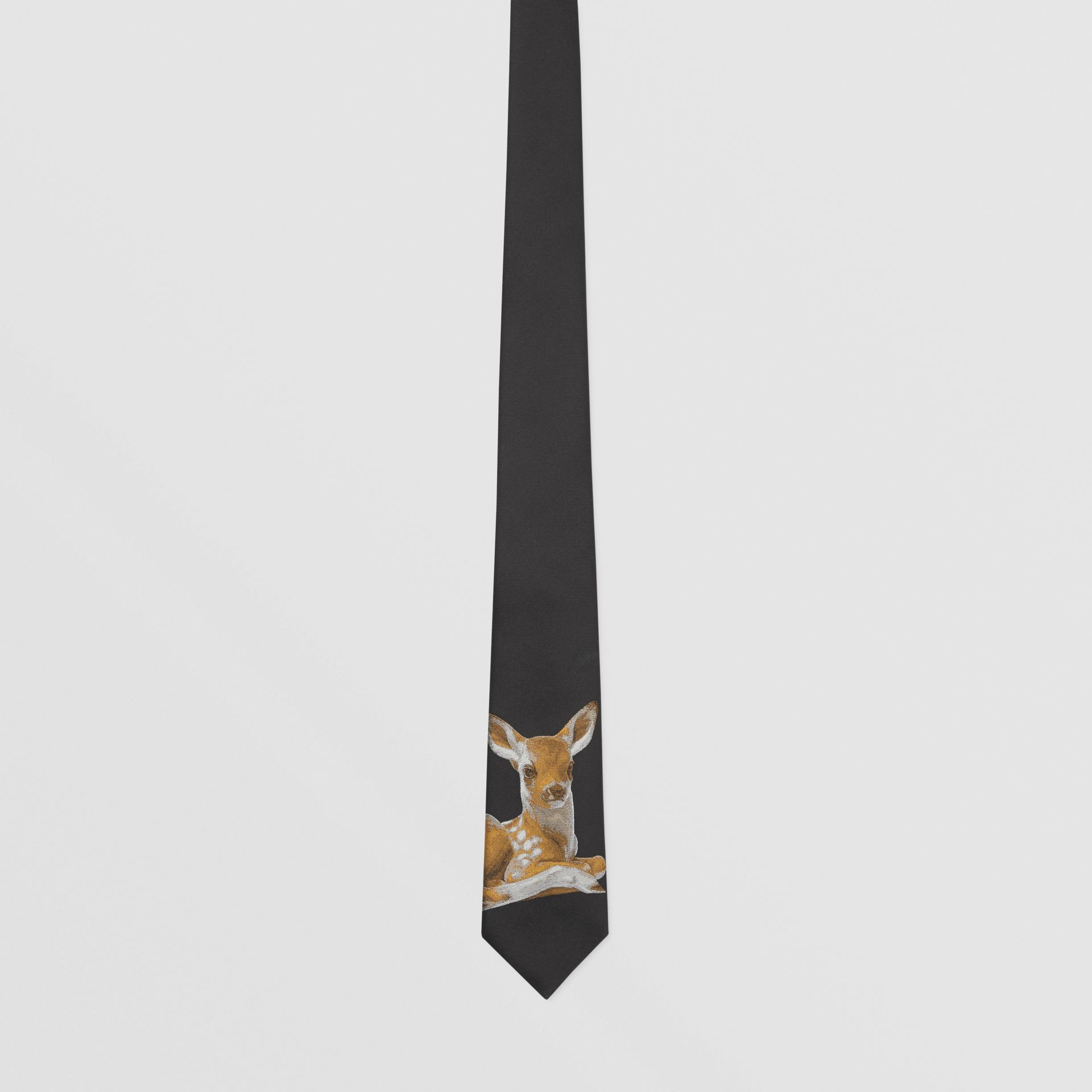 Classic Cut Deer Motif Silk Jacquard Tie in Black - Men | Burberry United States - gallery image 3
