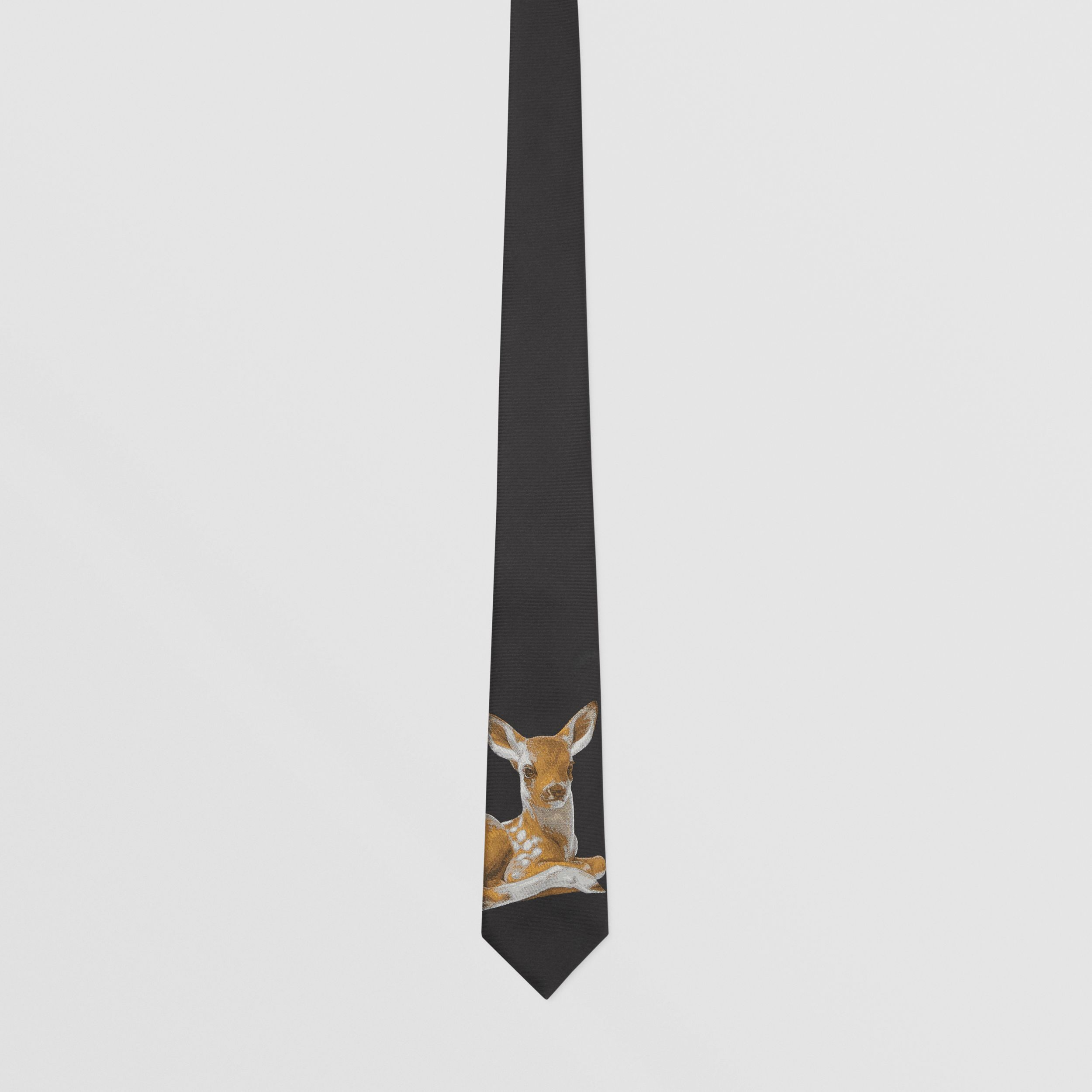 Classic Cut Deer Motif Silk Jacquard Tie in Black - Men | Burberry - 4