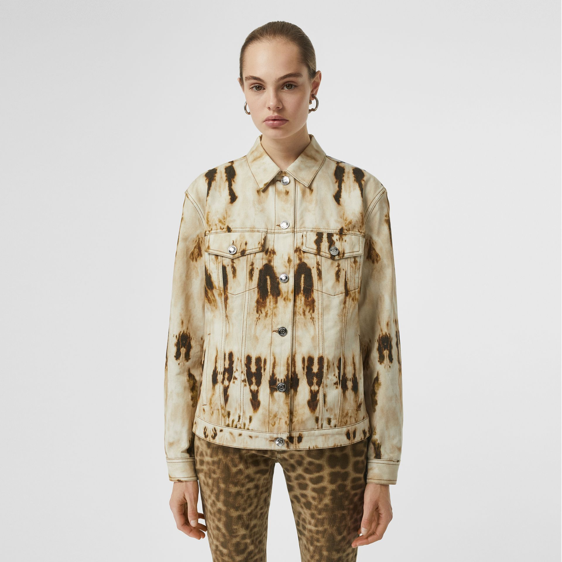 Monogram Motif Bleached Denim Jacket in Honey - Women | Burberry - gallery image 4