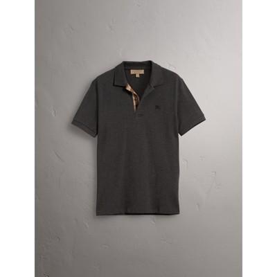 Burberry - Polo en piqué de coton avec patte à motif check - 4