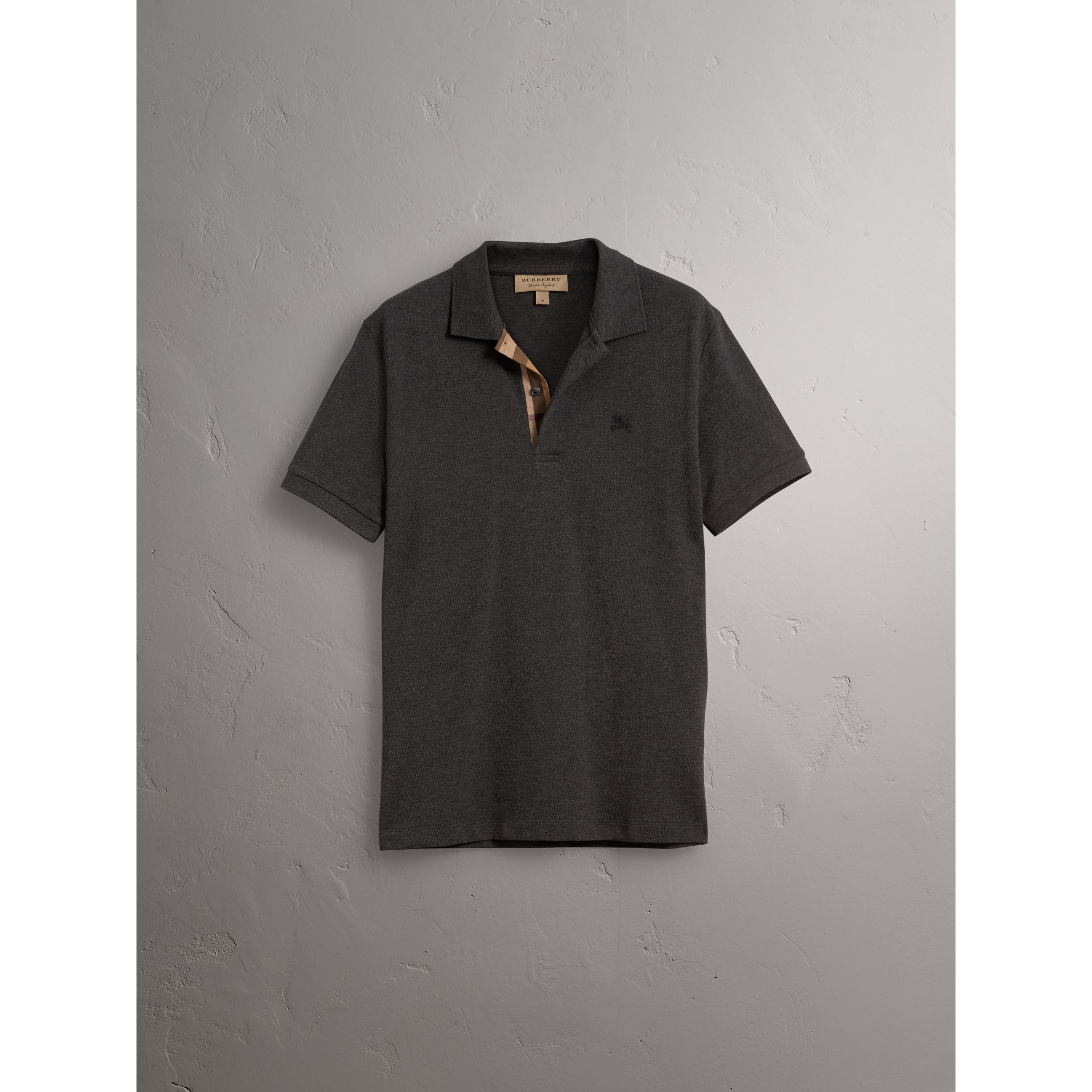 Check Placket Cotton Piqué Polo Shirt in Dark Charcoal Melange - Men | Burberry Australia - gallery image 3