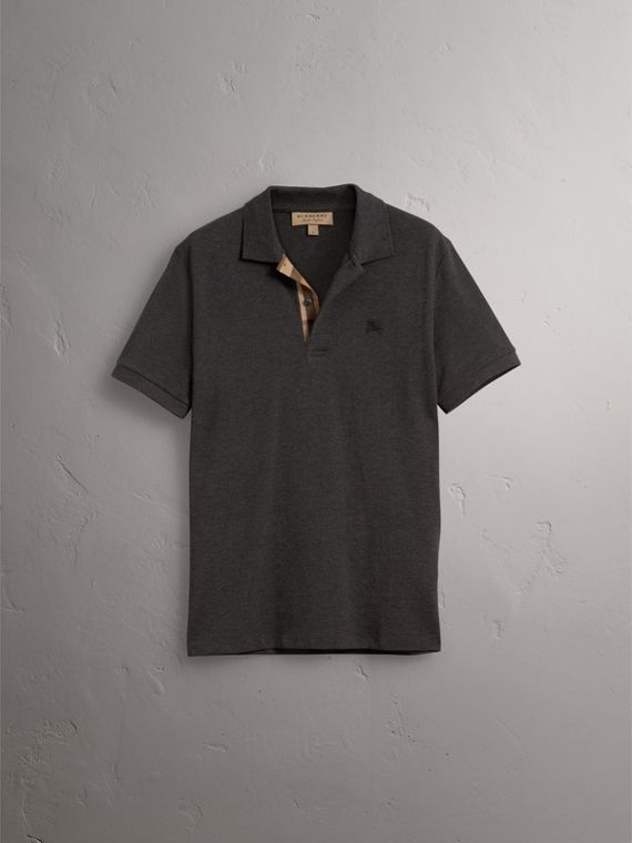 Check Placket Cotton Piqué Polo Shirt in Dark Charcoal Melange - Men | Burberry Australia - cell image 3