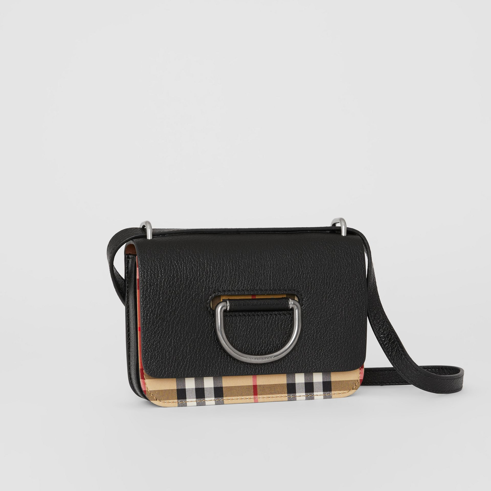 The Mini Vintage Check and Leather D-ring Bag in Black - Women | Burberry Canada - gallery image 6