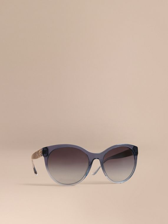 Check Detail Round Frame Sunglasses Blue