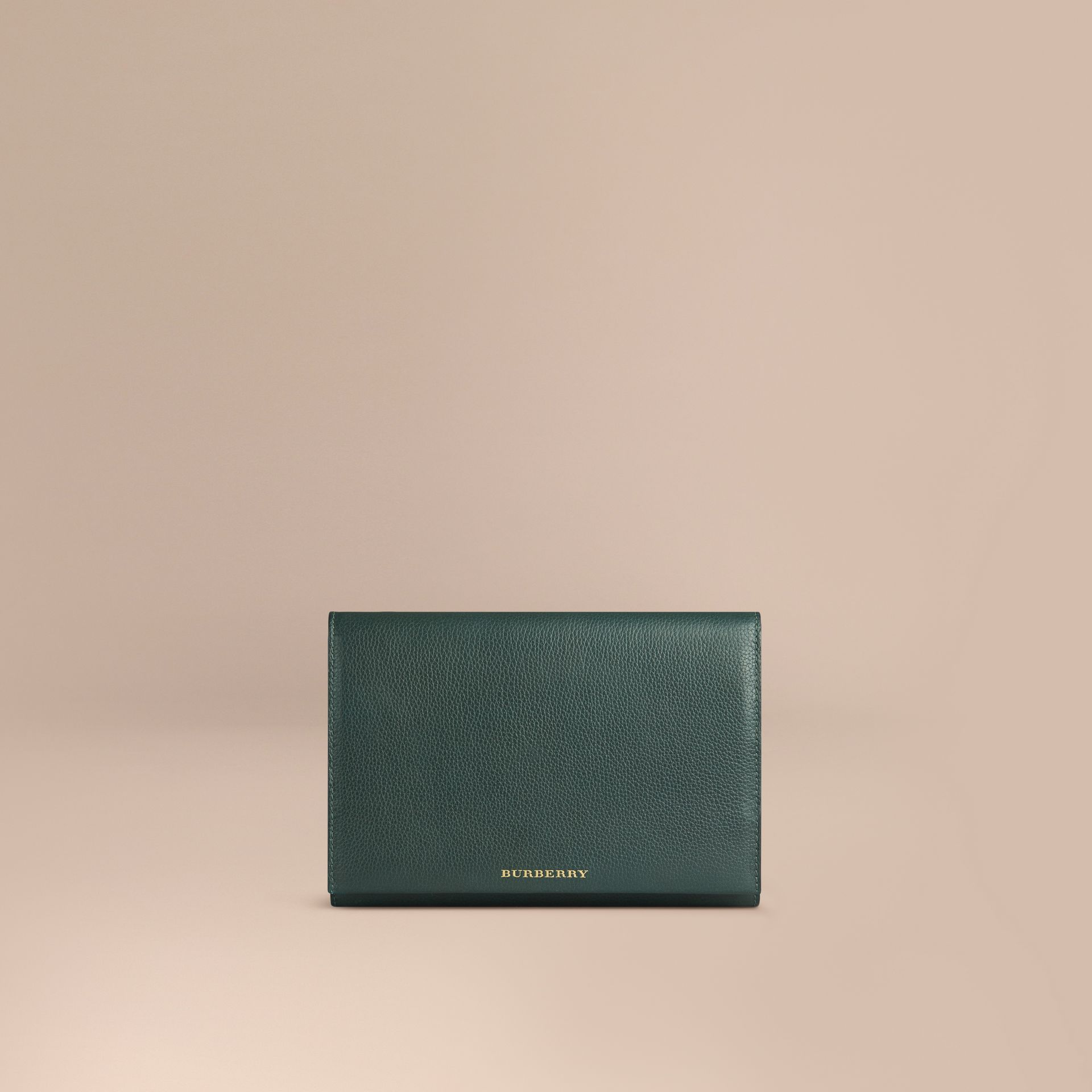 Grainy Leather Travel Wallet in Dark Forest Green - Men | Burberry - gallery image 1