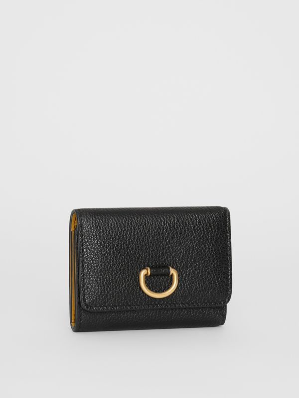 Small D-ring Leather Wallet in Black - Women | Burberry United Kingdom - cell image 3
