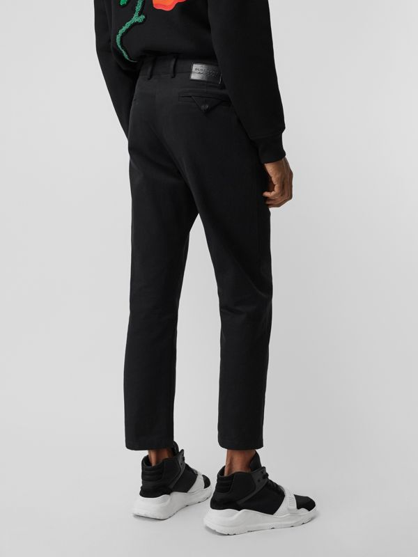 Slim Fit Cotton Blend Chinos in Black - Men | Burberry Canada - cell image 2