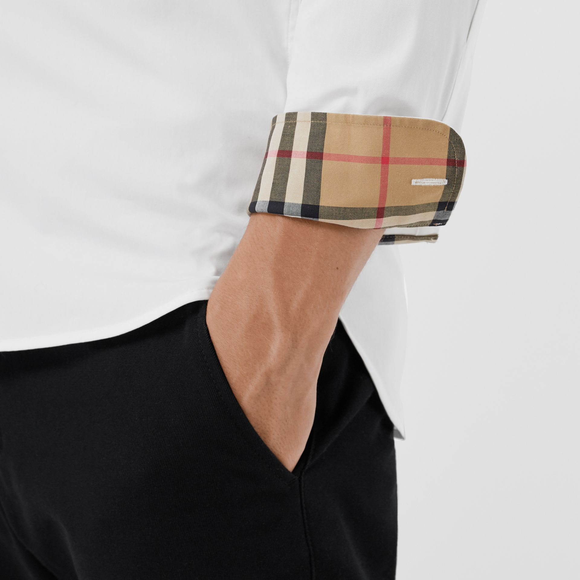 Check Cuff Stretch Cotton Poplin Shirt in White - Men | Burberry Australia - gallery image 4