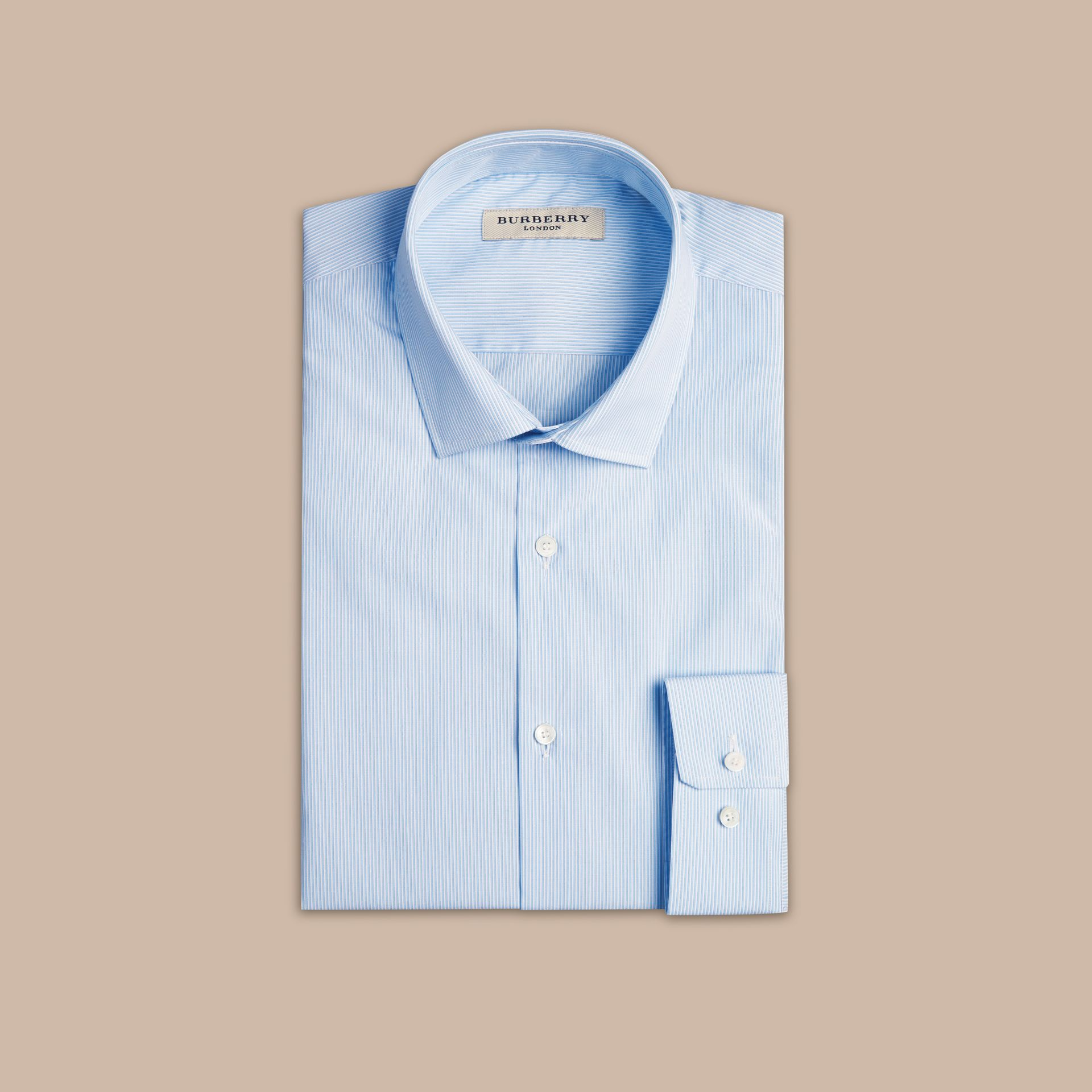 City blue Modern Fit Striped Cotton Poplin Shirt City Blue - gallery image 4