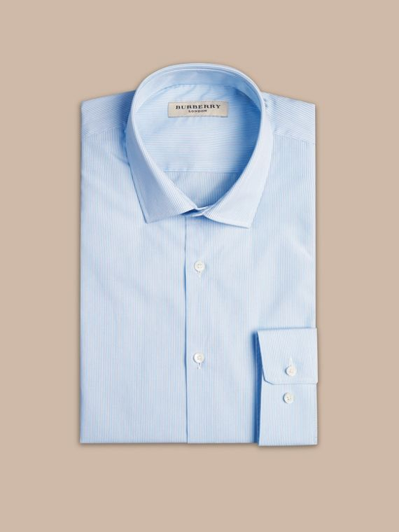 Modern Fit Striped Cotton Poplin Shirt in City Blue - cell image 3