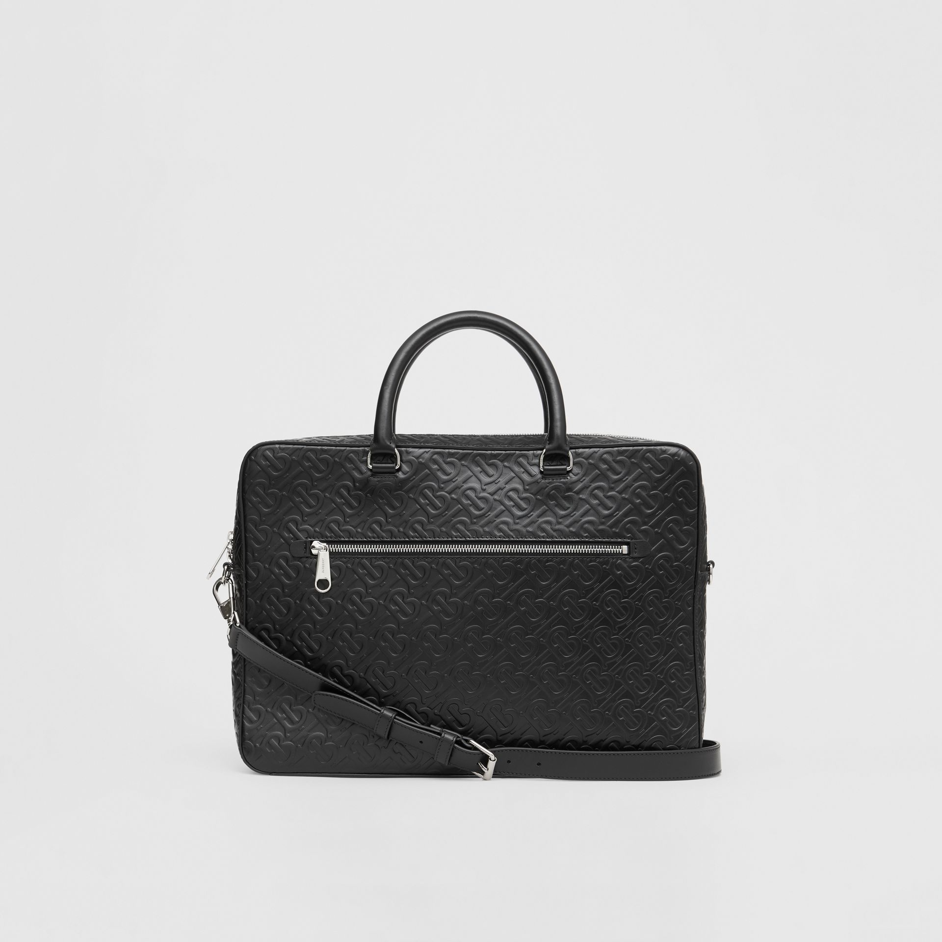 Monogram Leather Briefcase in Black - Men | Burberry - gallery image 7