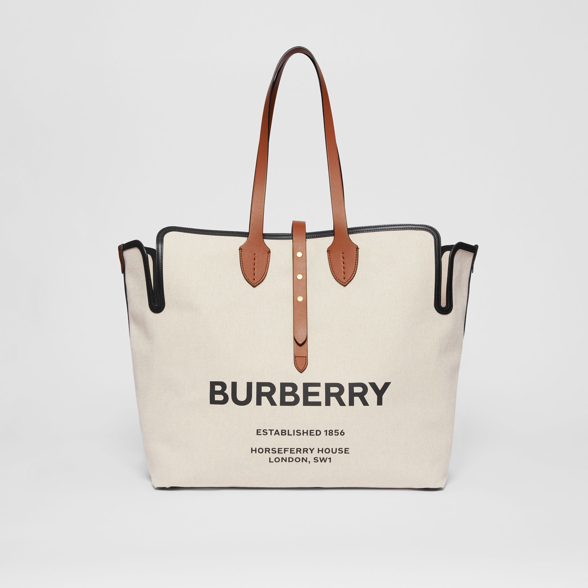 Grand sac The Belt en toile de coton douce (Brun Malt) | Burberry - photo de la galerie 0