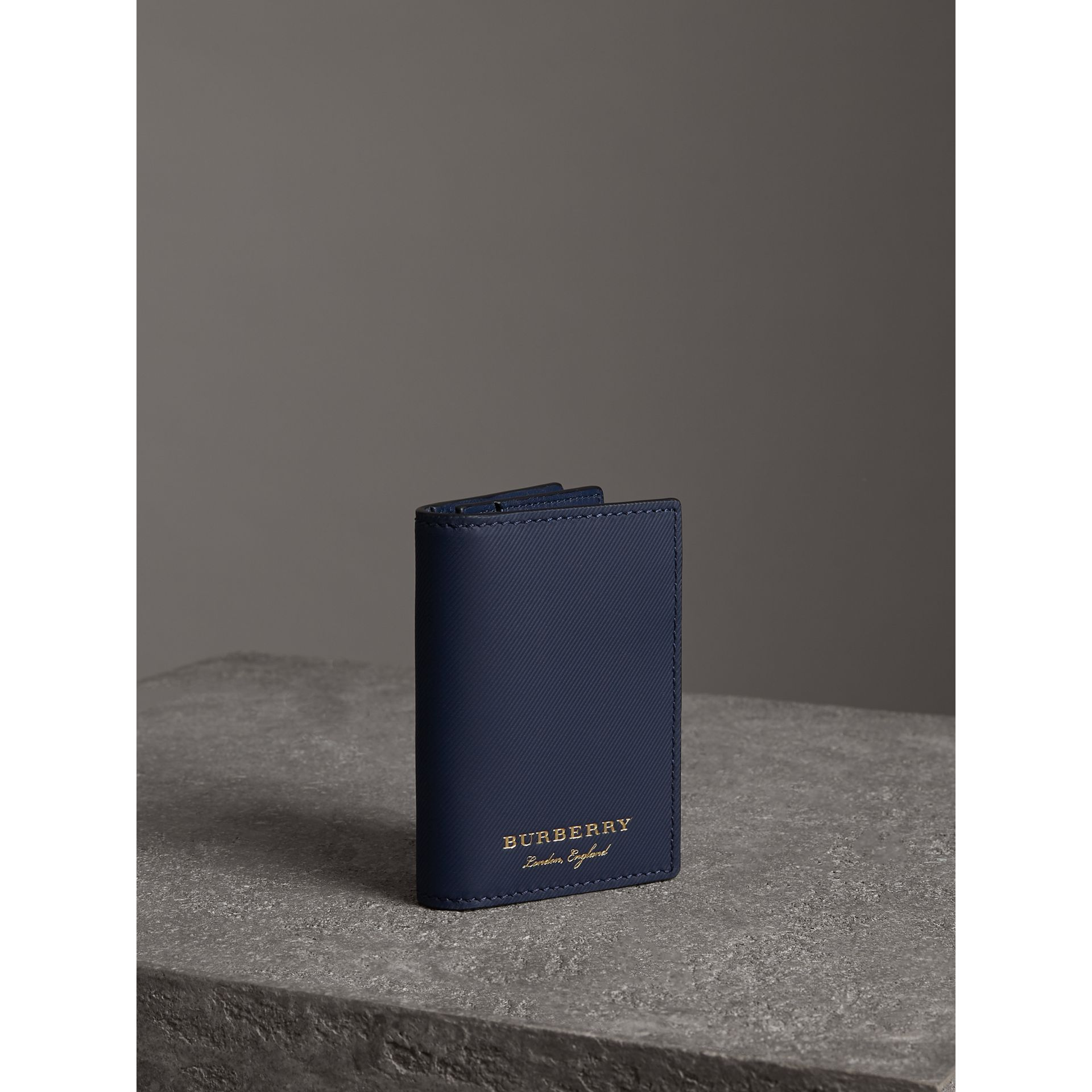 Trench Leather Folding Card Case in Ink Blue | Burberry - gallery image 3