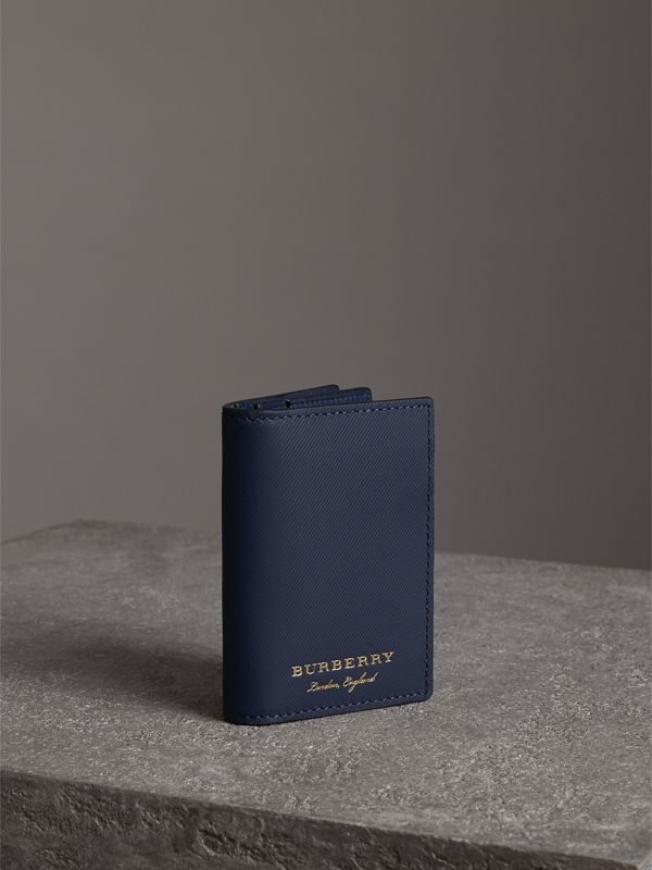 Trench Leather Folding Card Case in Ink Blue | Burberry - cell image 3