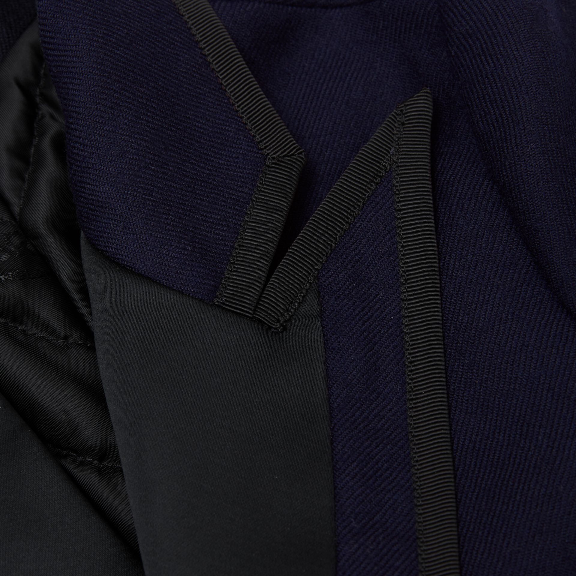 Satin Trim Wool Twill Tailored Jacket in Navy | Burberry Singapore - gallery image 1