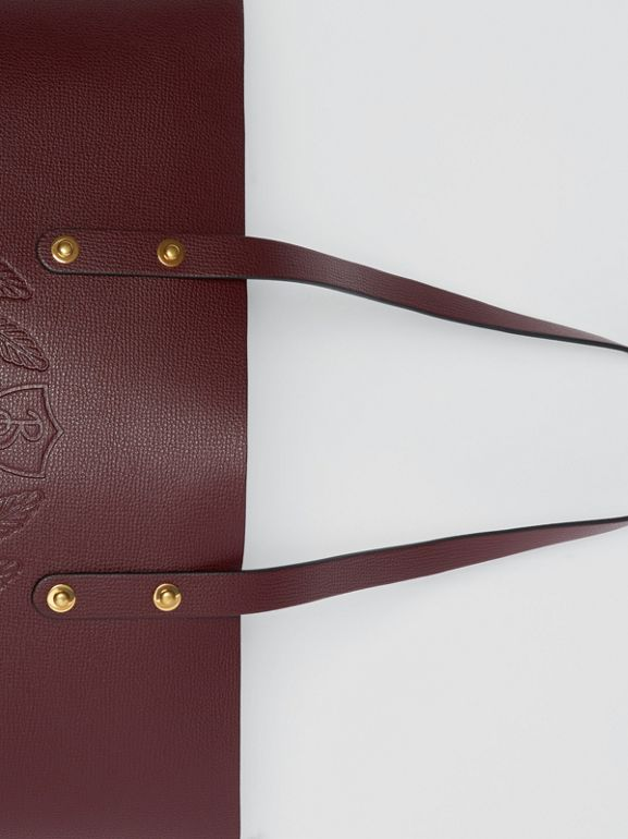 Small Embossed Crest Leather Tote in Burgundy | Burberry Australia - cell image 1
