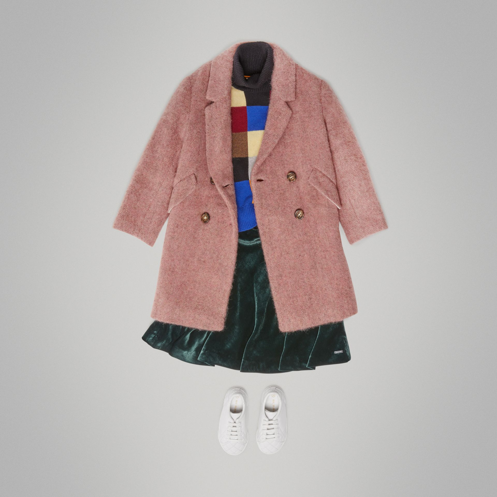 Wool Alpaca Blend Tailored Coat in Rose Pink Melange - Children | Burberry United Kingdom - gallery image 2