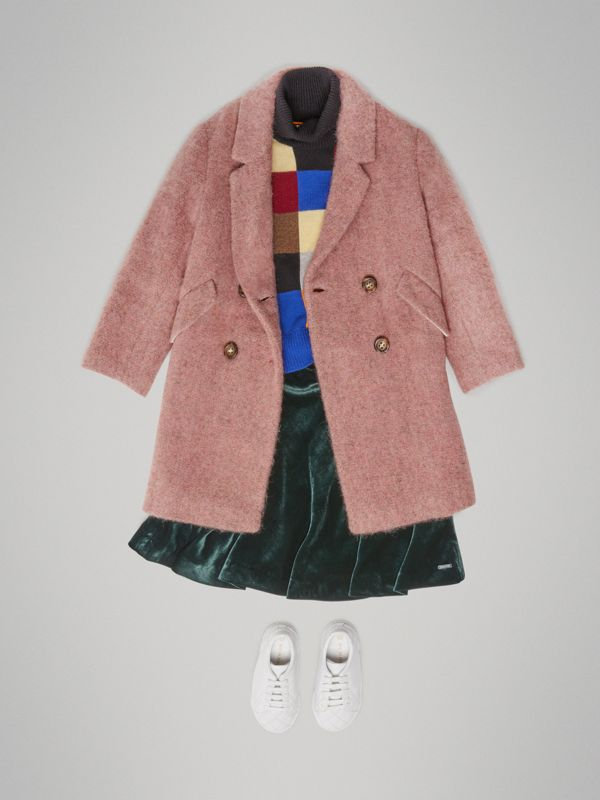 Wool Alpaca Blend Tailored Coat in Rose Pink Melange | Burberry - cell image 2