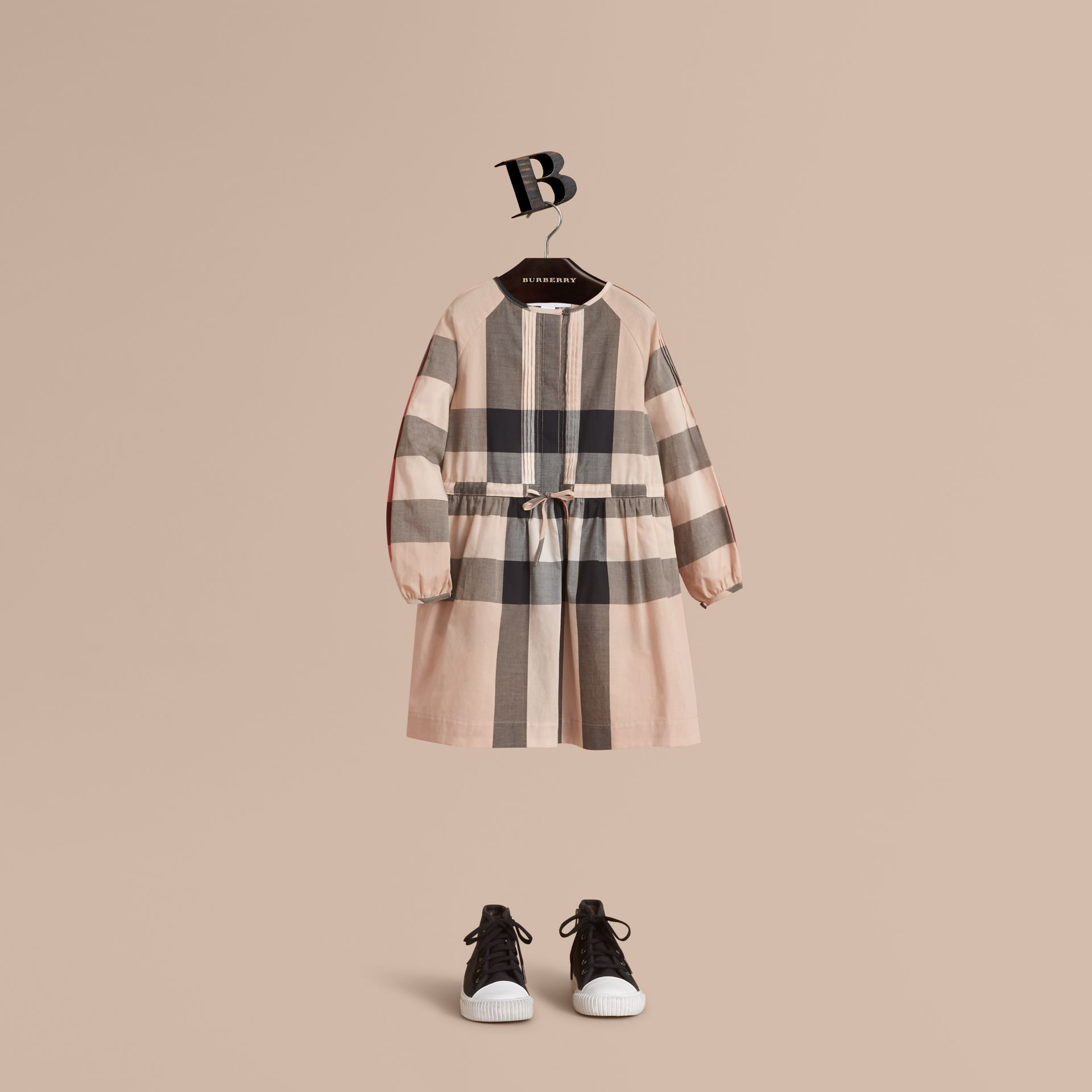 Collarless Check Drawcord Cotton Voile Dress in New Classic - Girl | Burberry Canada - gallery image 1