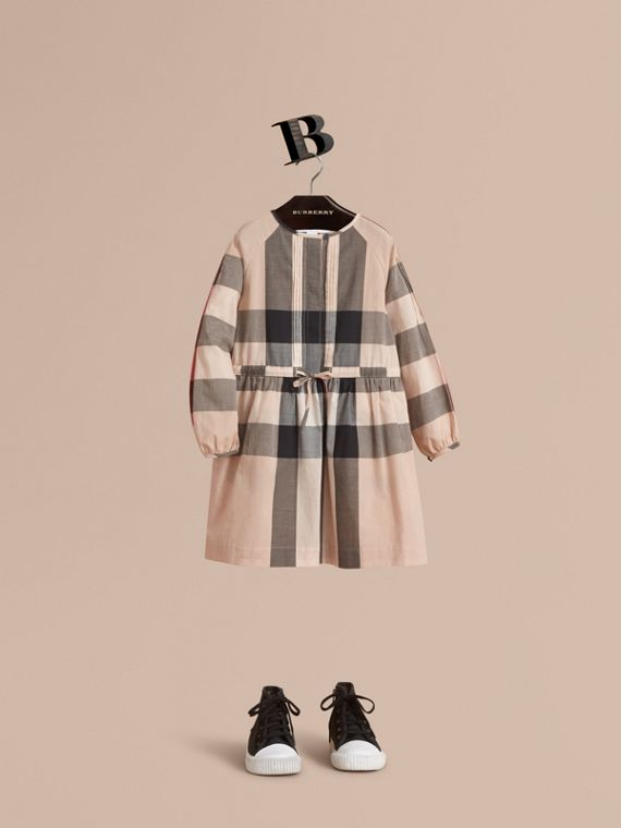 Collarless Check Drawcord Cotton Voile Dress in New Classic