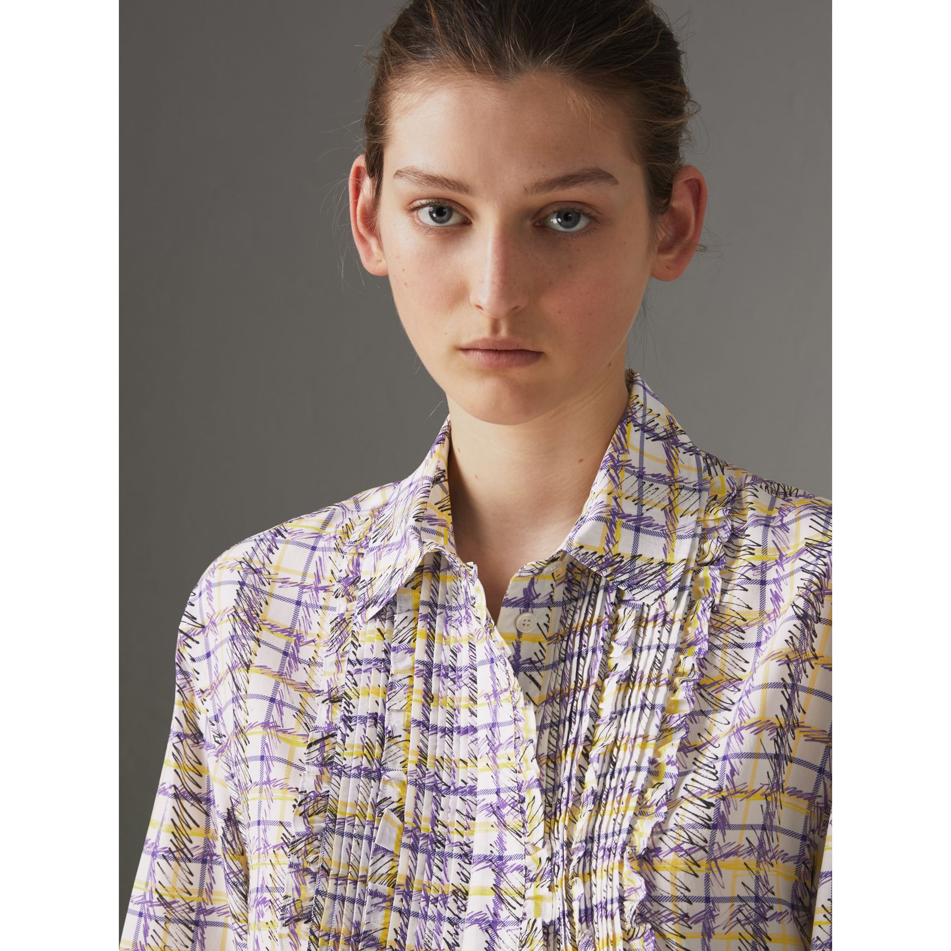 Scribble Check Print Silk Shirt in Heather - Women | Burberry - gallery image 1
