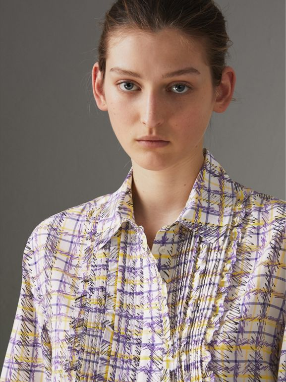 Scribble Check Print Silk Shirt in Heather - Women | Burberry Canada - cell image 1