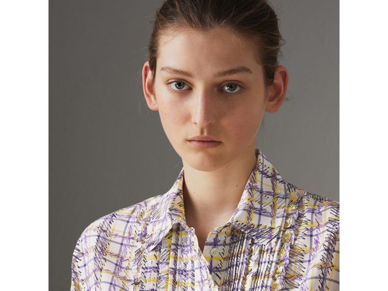 Scribble Check Print Silk Shirt in Heather - Women | Burberry - cell image 1
