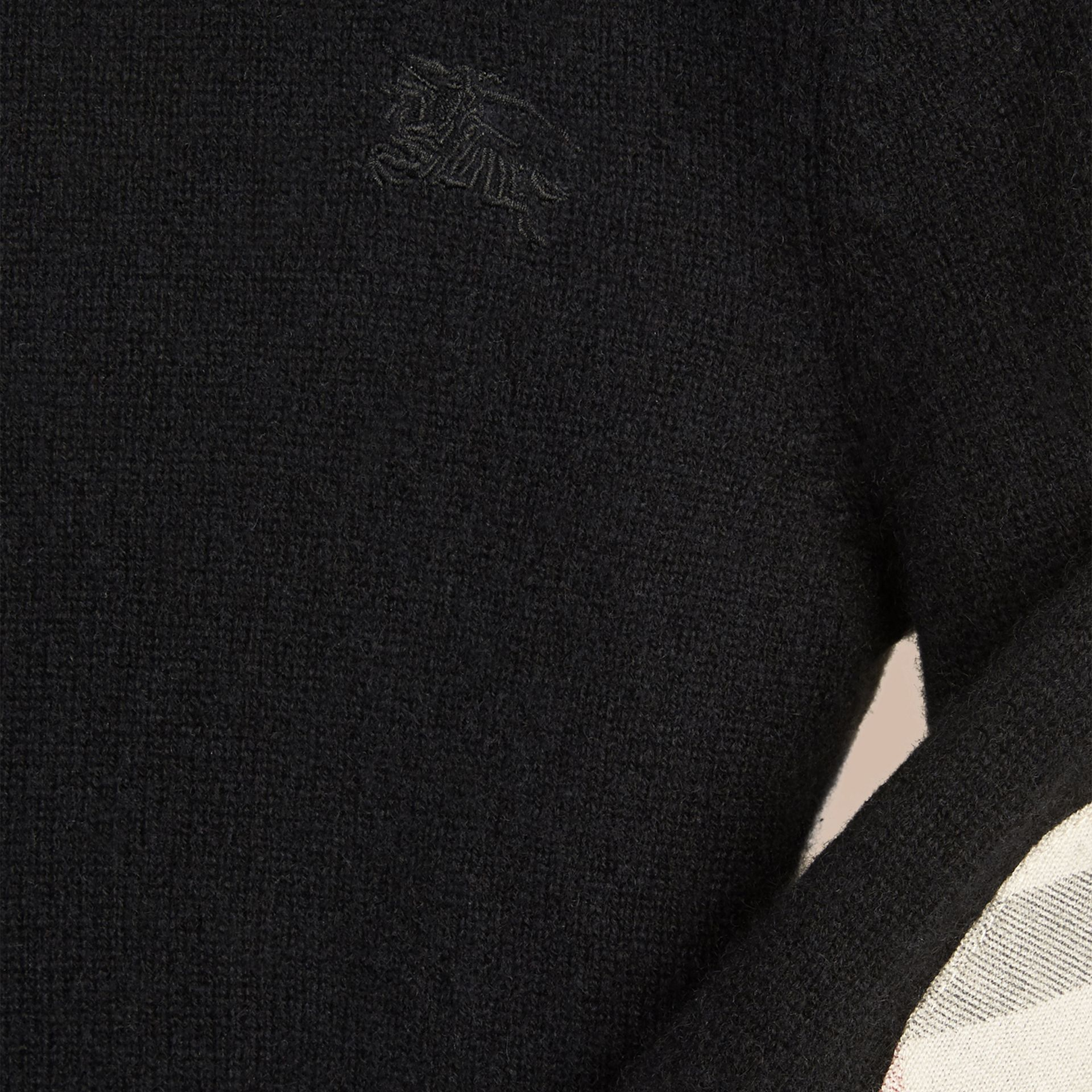 Check Elbow Patch Cashmere Sweater Black - gallery image 2