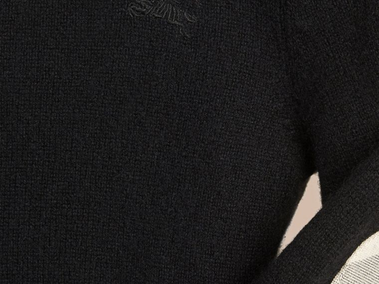 Check Elbow Patch Cashmere Sweater in Black - cell image 1
