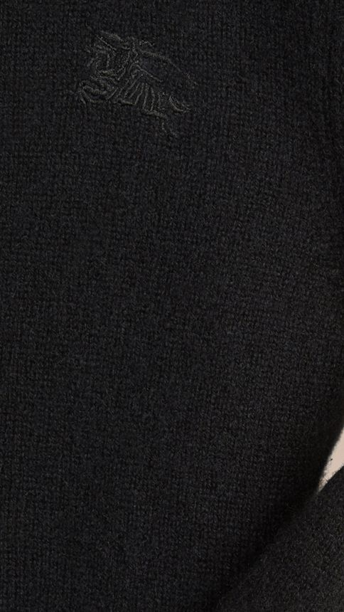 Black Check Elbow Patch Cashmere Sweater Black - Image 2