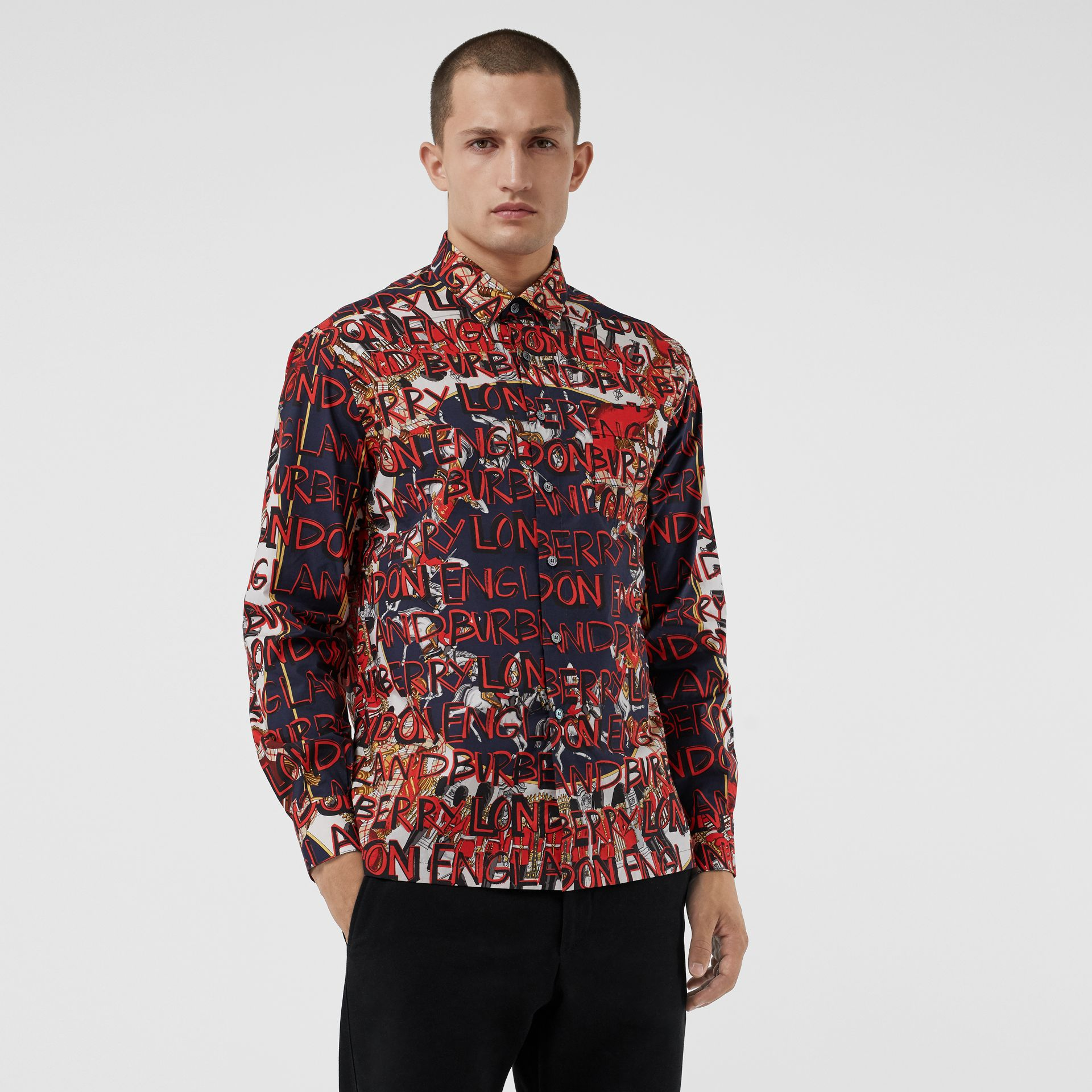 Graffiti Archive Scarf Print Cotton Shirt in Navy - Men | Burberry - gallery image 0