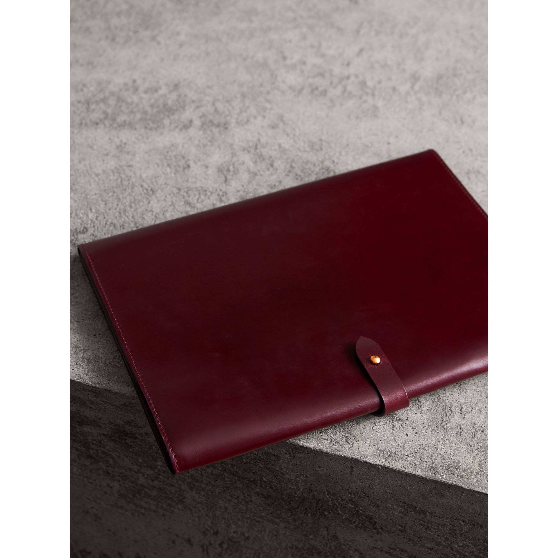 Equestrian Shield Leather A4 Document Case in Deep Claret - Men | Burberry - gallery image 2
