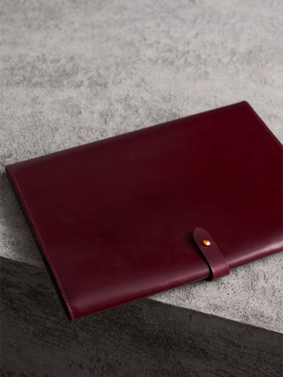 Equestrian Shield Leather A4 Document Case in Deep Claret | Burberry - cell image 2