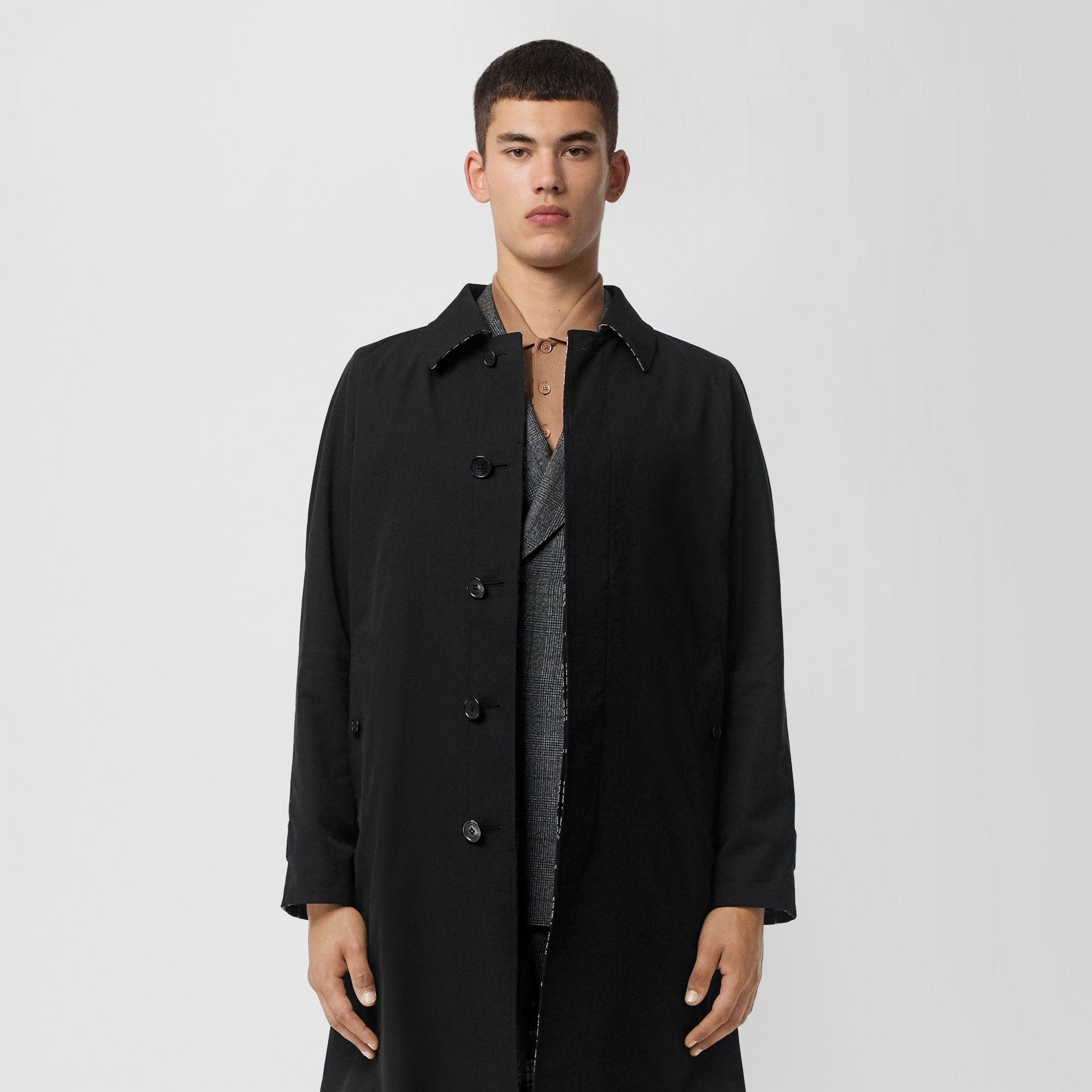 Reversible Wool Cashmere and Cotton Car Coat in Black - Men | Burberry Australia - gallery image 6