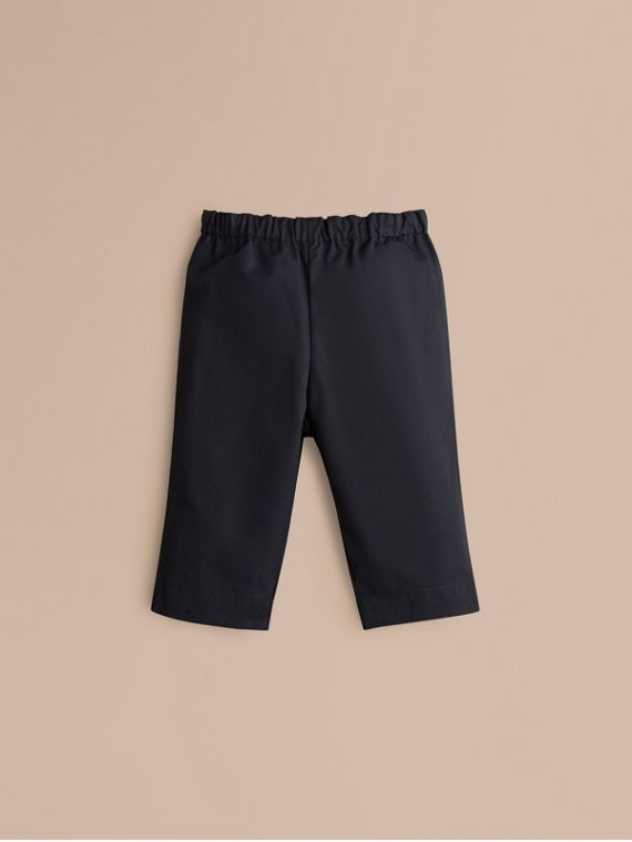 Check Turn-Up Cotton Trousers Ink