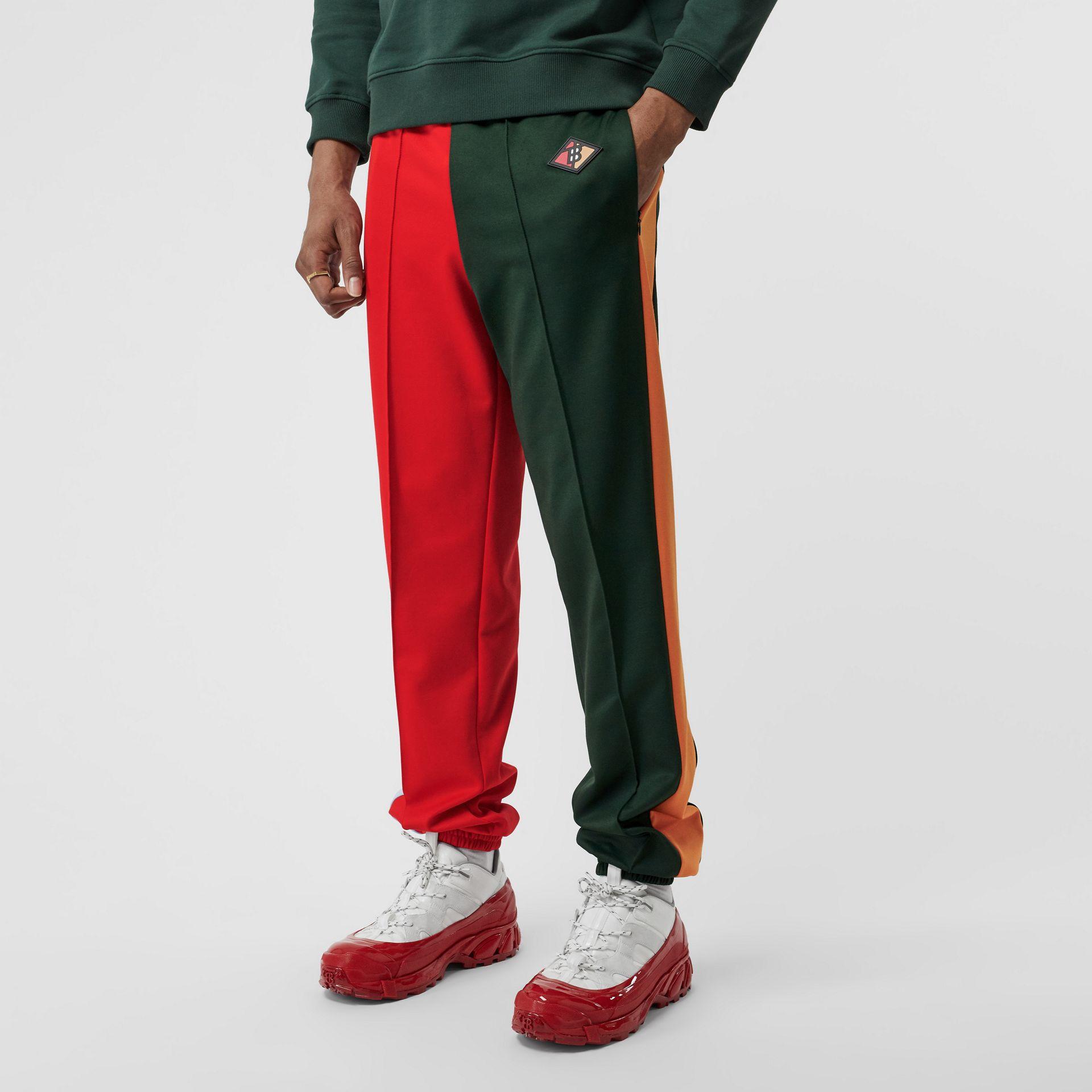 Logo Graphic Colour Block Jersey Trackpants in Dark Pine Green - Men | Burberry - gallery image 3