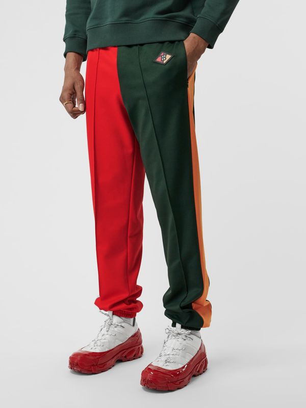 Logo Graphic Colour Block Jersey Trackpants in Dark Pine Green - Men | Burberry - cell image 3