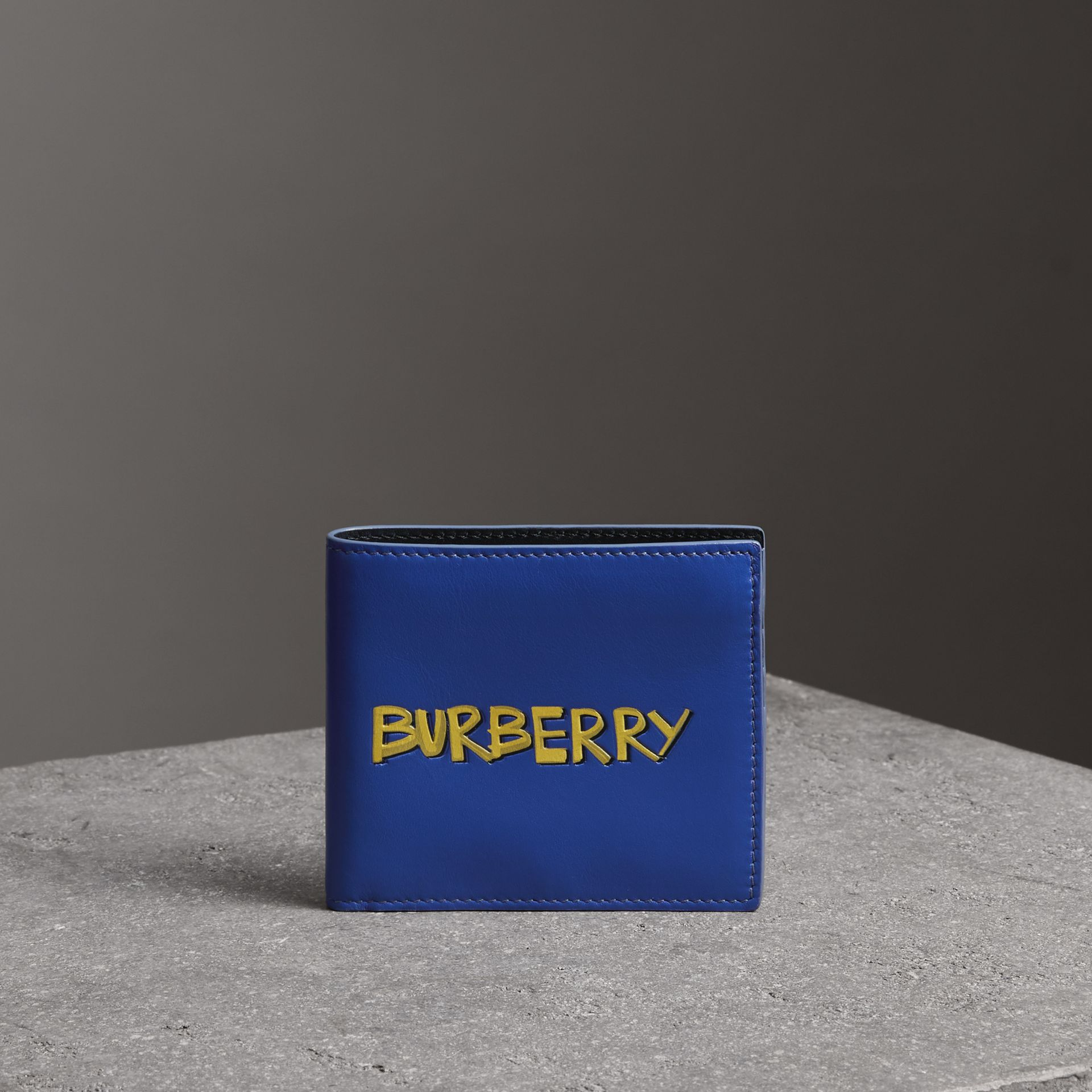 Graffiti Print Leather International Bifold Wallet in Denim Blue - Men | Burberry - gallery image 0