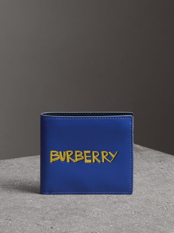 Graffiti Print Leather International Bifold Wallet in Denim Blue