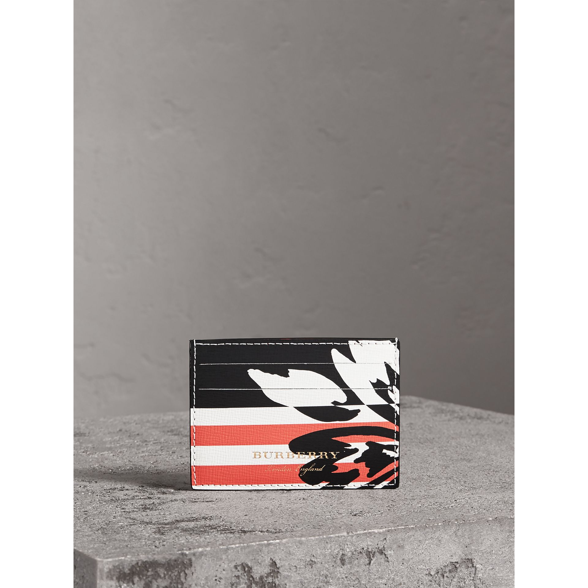 Floral Stripe Print Leather Card Case in Patchwork | Burberry - gallery image 3